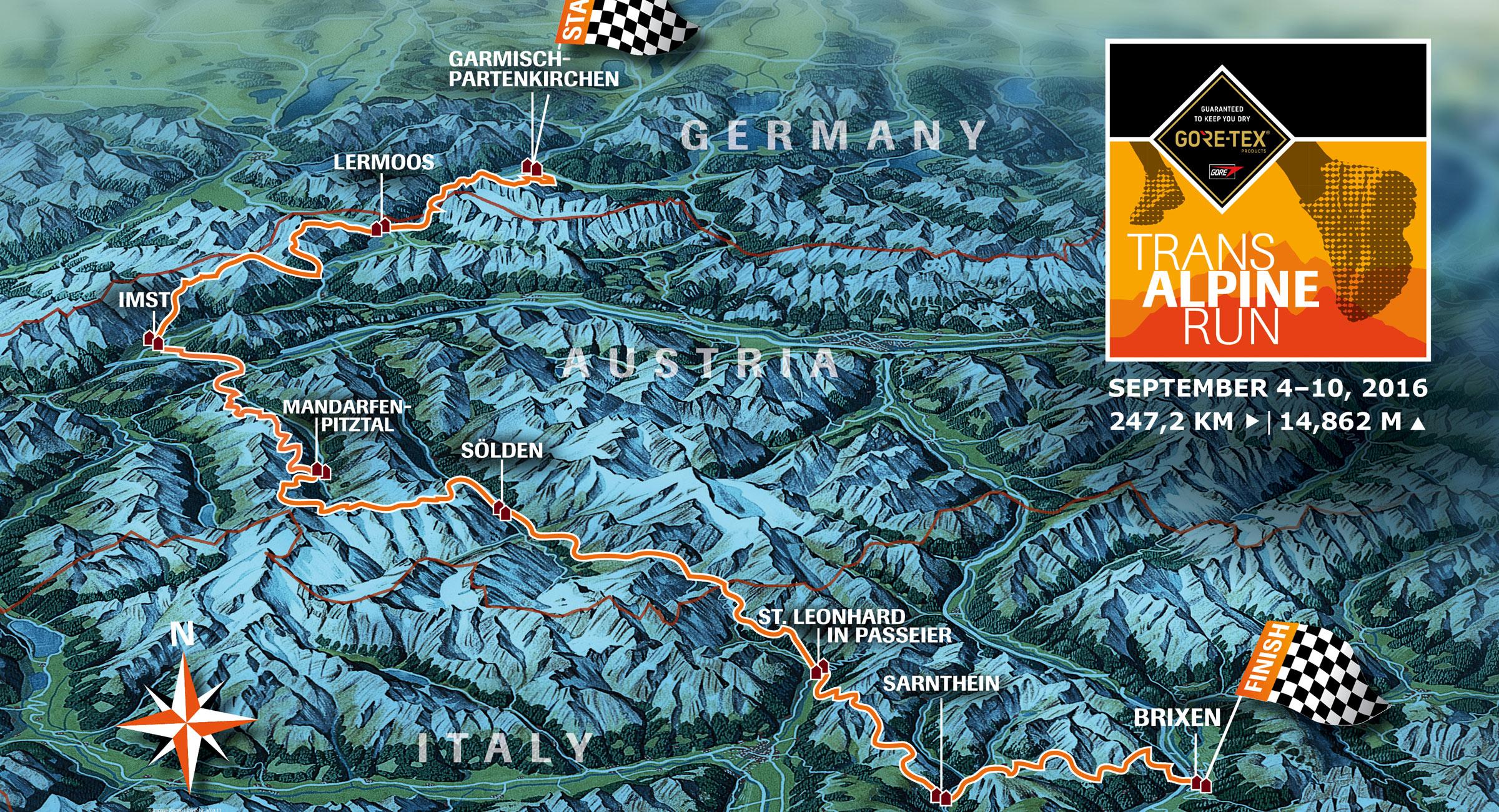 Gore-Tex Transalpine-Run 2016 Map