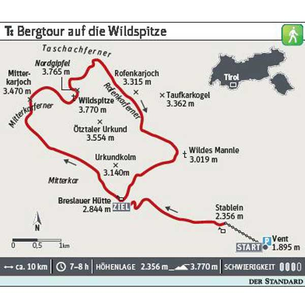 Grafik Tour Wildspitze - Ötztal, Tirol