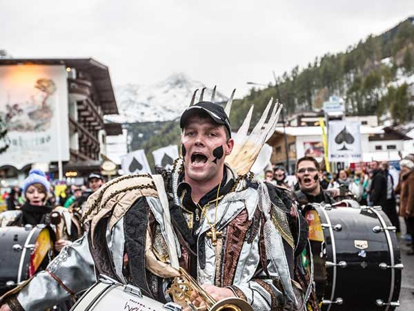 Fan Parade in Sölden, Ötztal valley, Tyrol