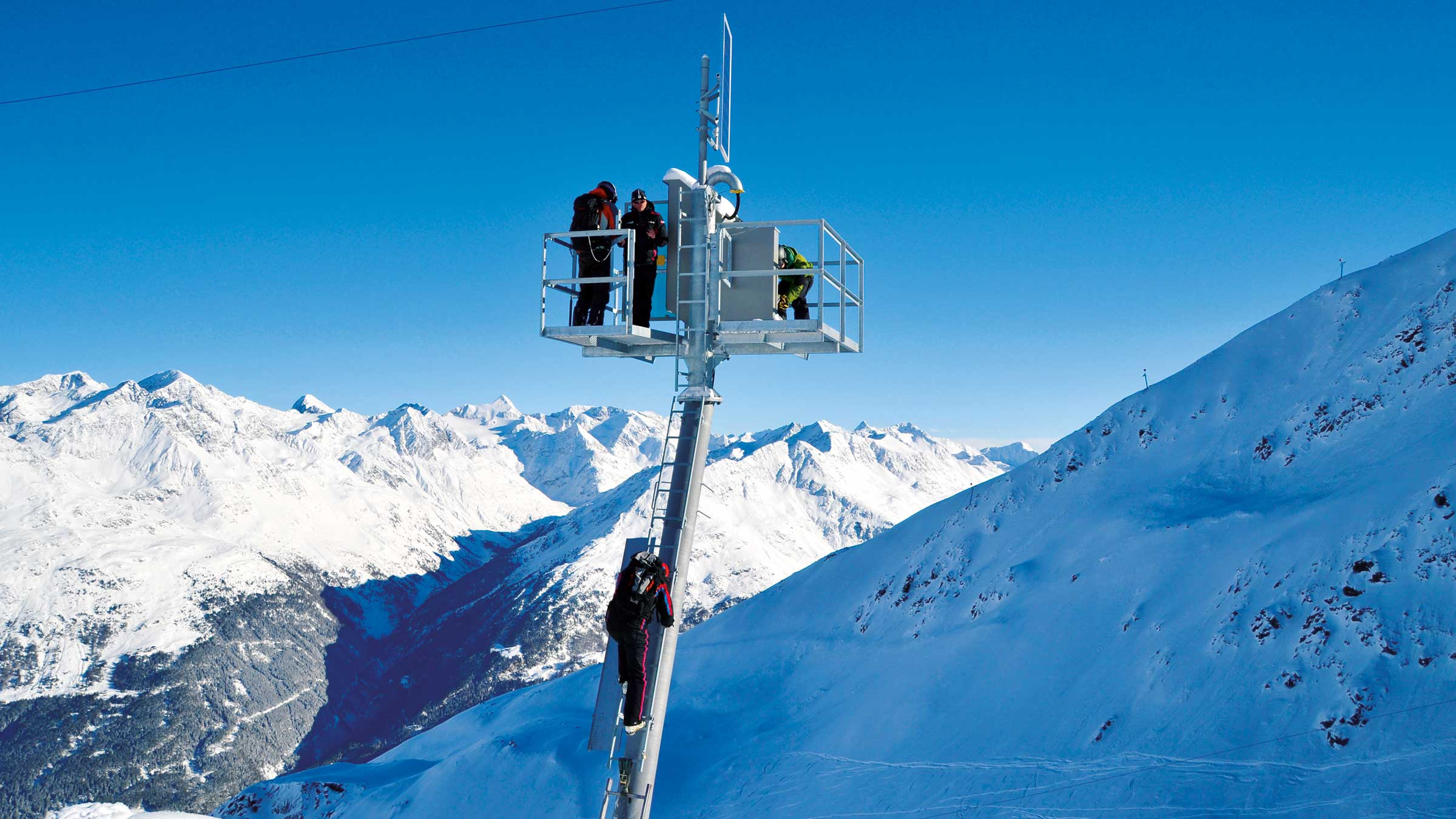 Sprengmasten im Skigebiet - Sicherung Skigebiet Sölden