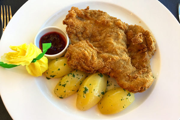the best Schnitzel at the ice Q restaurant