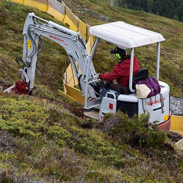 Sicherheitszaun beim Trailbau - Bike Republic Sölden