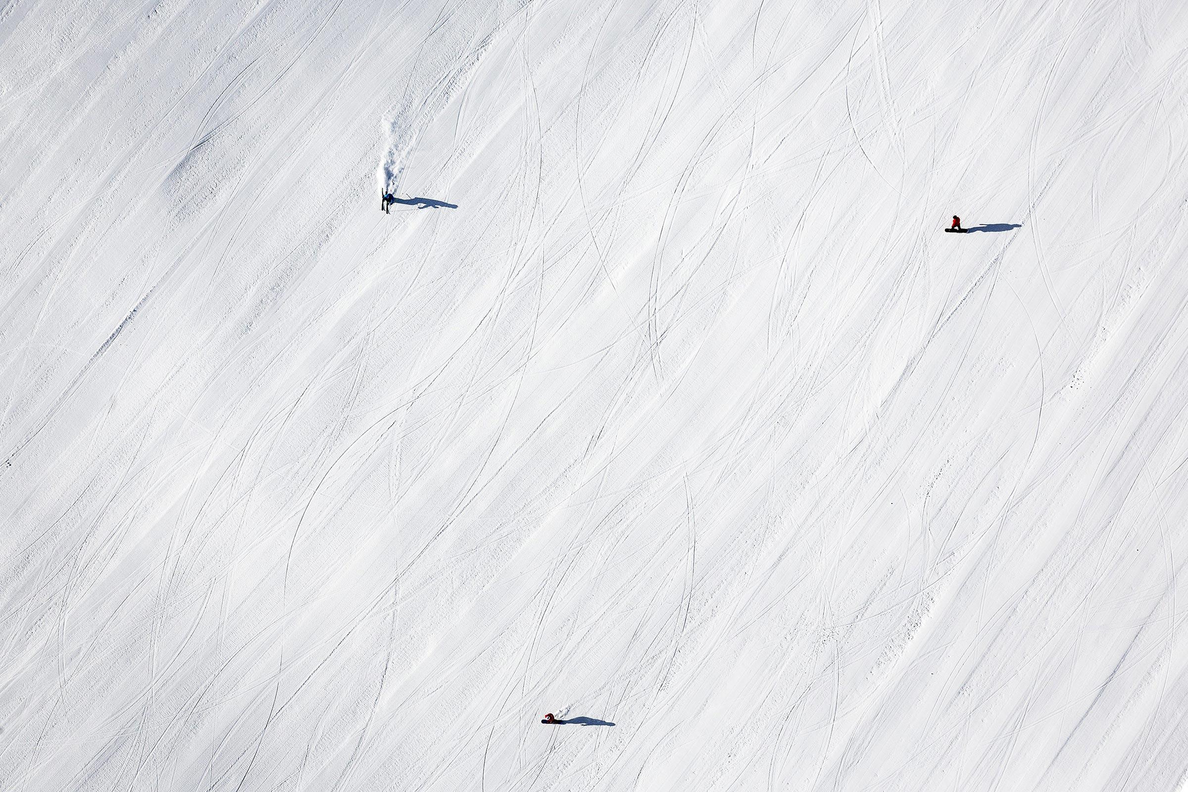 Skifahrer Vogelperspektive - Skigebiet Sölden