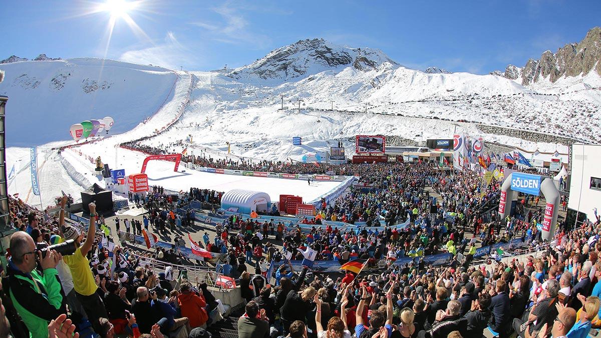 Blick auf Weltcuphang - Skiweltcup Sölden